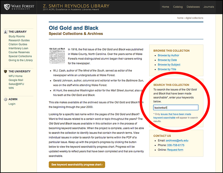 Collection search box for Old Gold & Black Digital Collection