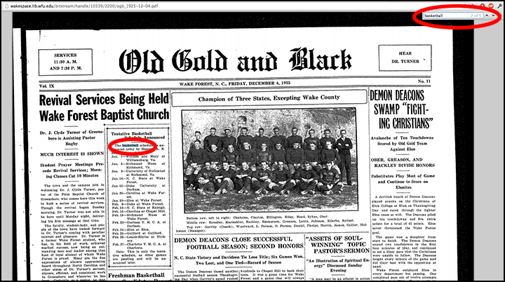 Keyword search within an issue of the Old Gold & Black