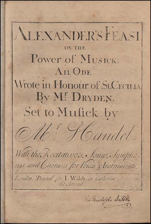 Title page of Alexander's feast