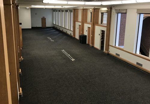 photograph of a cleared space on 4th floor of Reynolds wing, in advance of demolition.