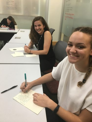 OPCD Fellow, Sarah Hoyle, and ZSR Ambassador, Hannah Goodwin, practice writing thank you notes