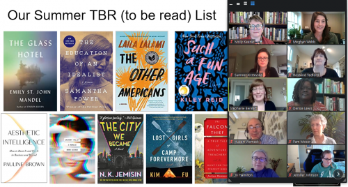 A screenshot of our virtual discussion of titles on our TBR (to be read list) during ZSR Library's Summer Reading Social.