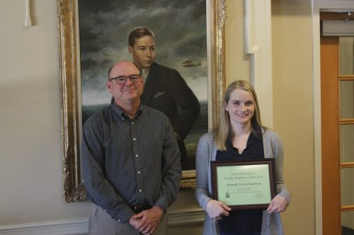 Amanda Foster-Kaufman, ZSR Faculty Employee of the Year 2019, with Tim Pyatt, Dean of the Library