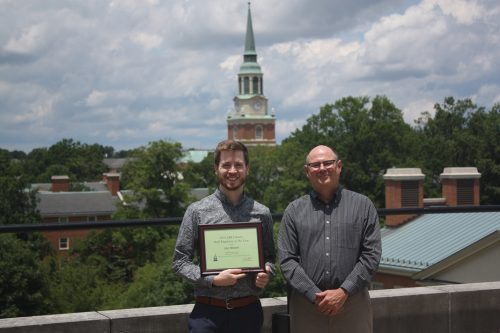 Jon Moore, ZSR Staff Employee of the Year 2019, and Tim Pyatt, Dean of the Library