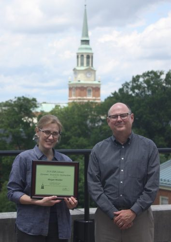 Megan Mulder with Tim Pyatt, Dean of the Library