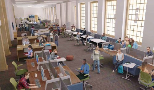 architectural rendering of anticipated Scholars Commons, 4th floor Reynolds Wing.