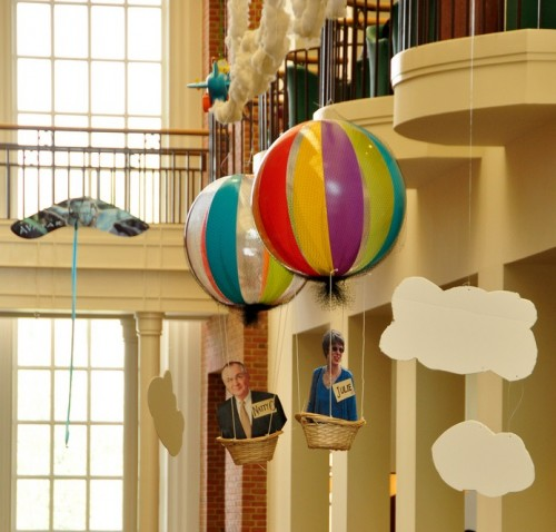 photo of the Library Decorating Committee's flight-themed project, complete with balloons for President Hatch and his wife Julie, in the Spring of 2011.
