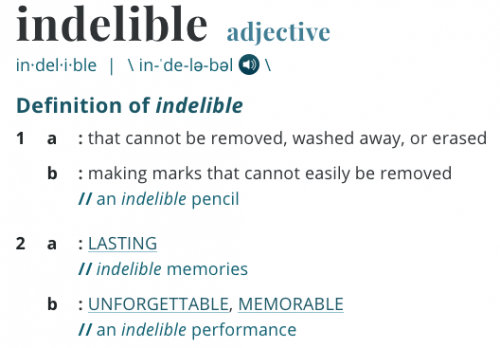 "Definition of ""indelible"""