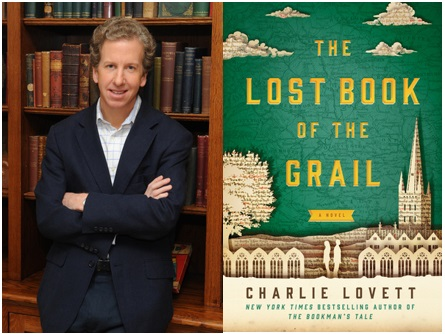 photograph of author Charlie Lovett and book jacket of The Lost Book of the Grail