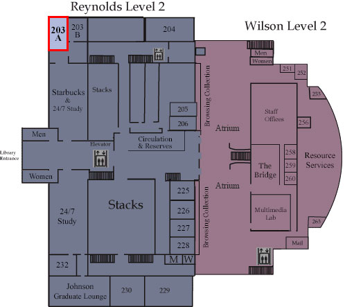 Floor map showing Room 203A