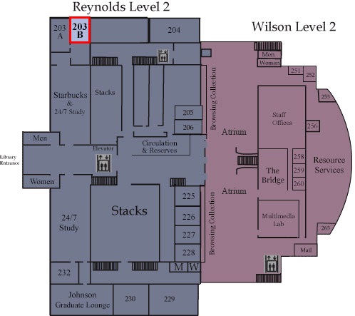 Floor map showing Room 203B