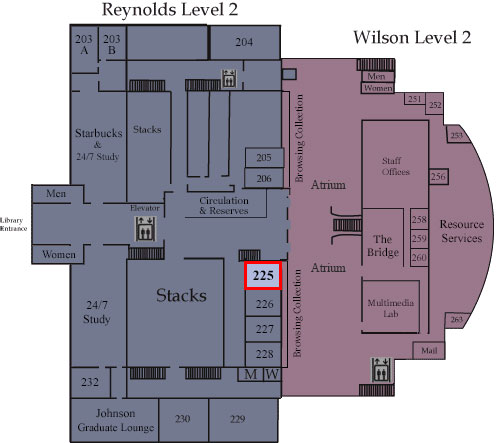 Floor map showing Room 225
