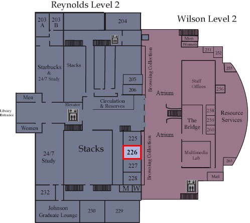 Floor map showing Room 226
