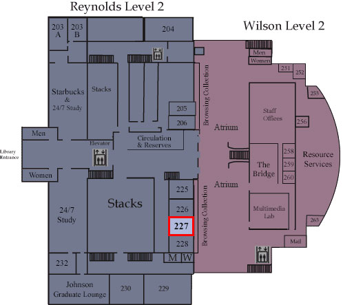 Floor map showing Room 227