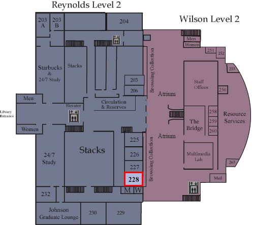 Floor map showing Room 228