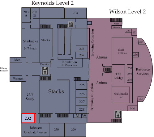 Floor map showing Room 232
