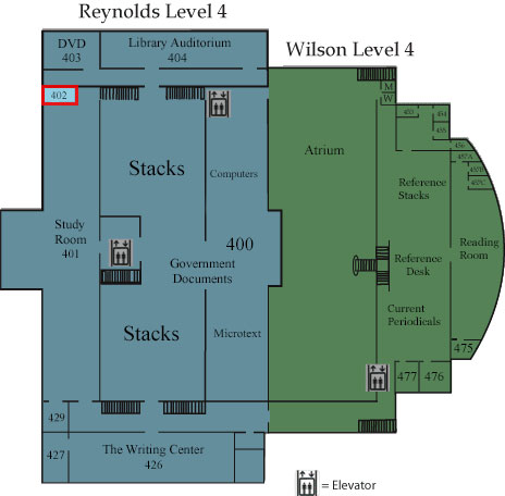 Floor map showing Room 402