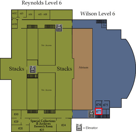 Floor map showing Room 677