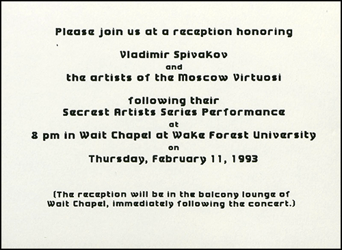 1993 Moscow Virtuosi Reception Invitation (2 of 2)