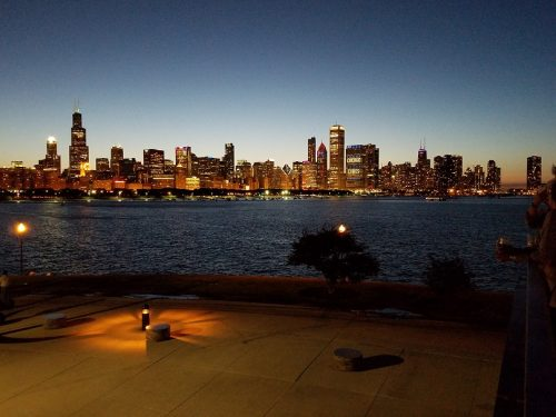 View of Chicago skyline from Adler Planetarium