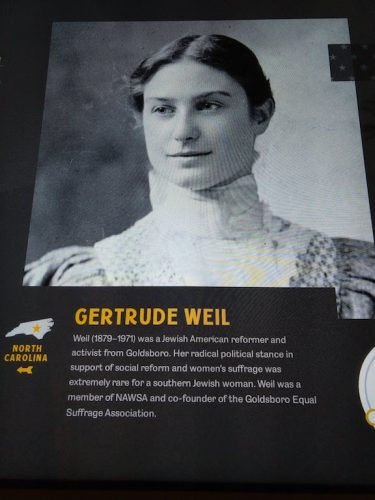 Gertrude Weil of Goldsboro, NC, who was involved in the suffrage movement