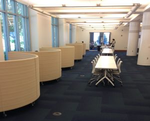 The enclosed booths located in the Jones Open Lab area of the Edge are one of the most popular study spots for students (so much so that each booth was occupied and I was unable to steal a photo as the booths were turned to the windows).