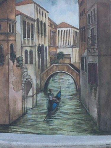 painting of a gondola in Venice, Italy
