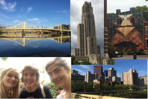 Clockwise: Andy Warhol Bridge, University of Pittsburg building, mural at Duquense, Skyline, and a group photo at Phipps Conservatory.