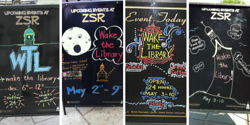 Four sandwich board signs promoting Wake the Library events throughout the years.