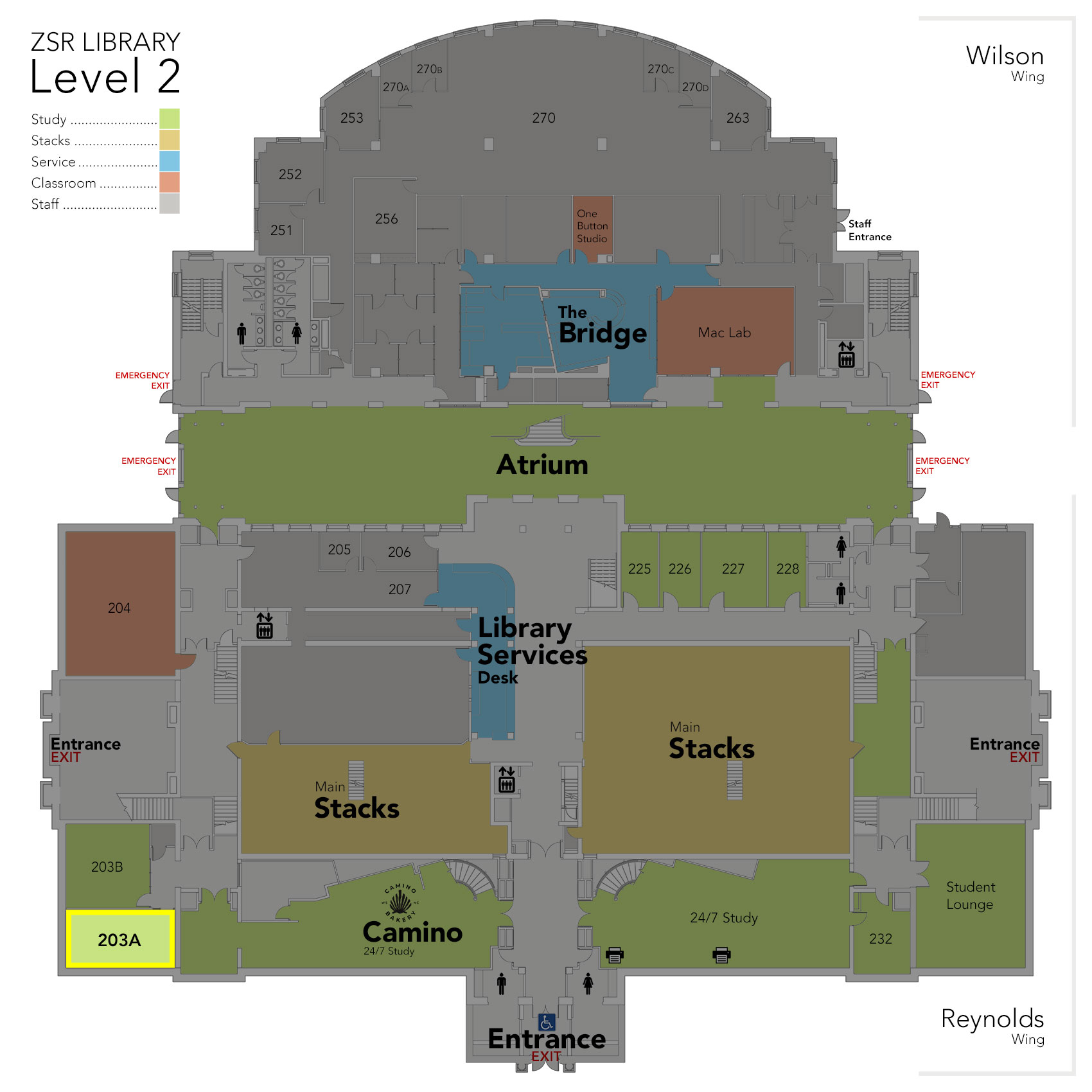 Level 2 Study Room 203A map