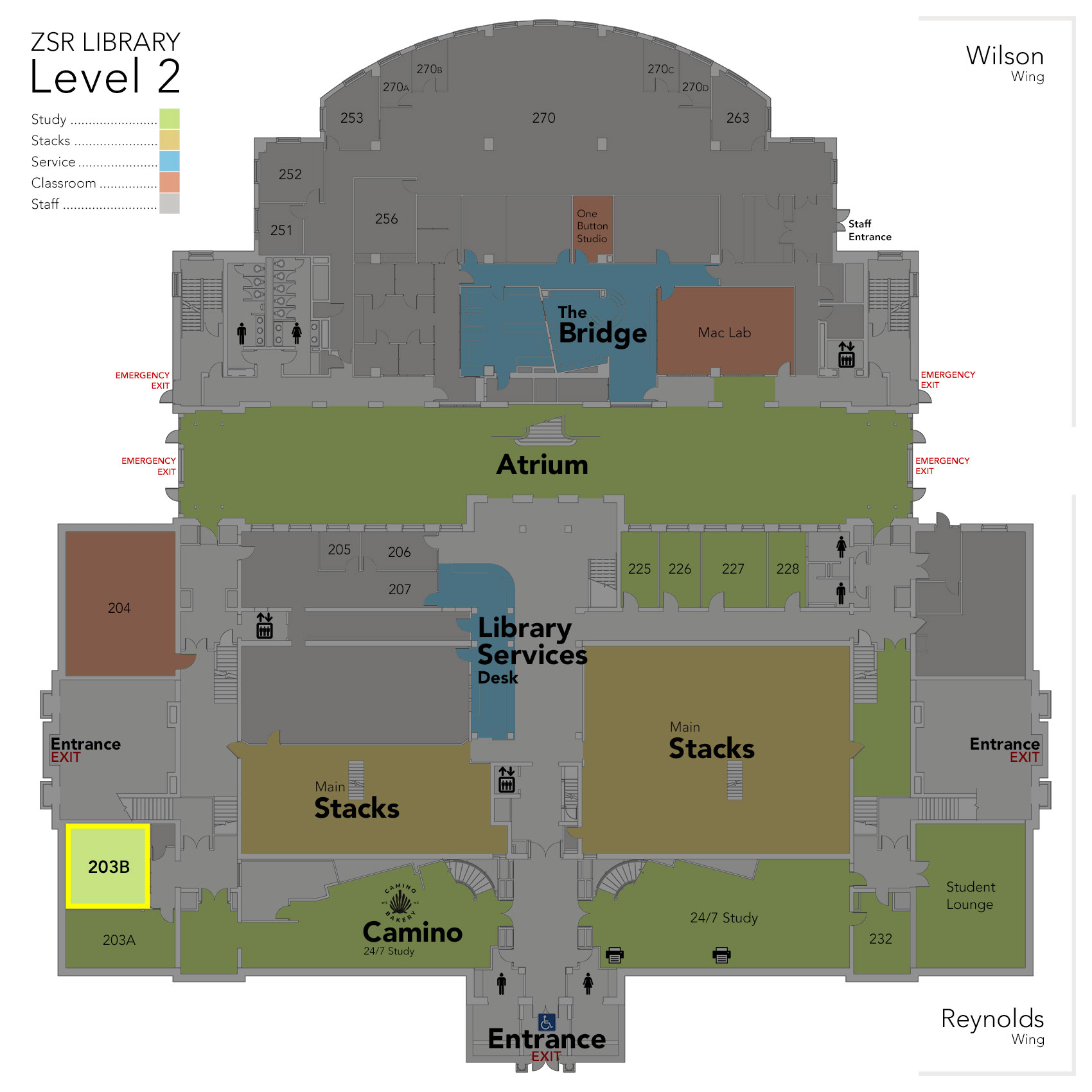 Level 2 Study Room 203B map