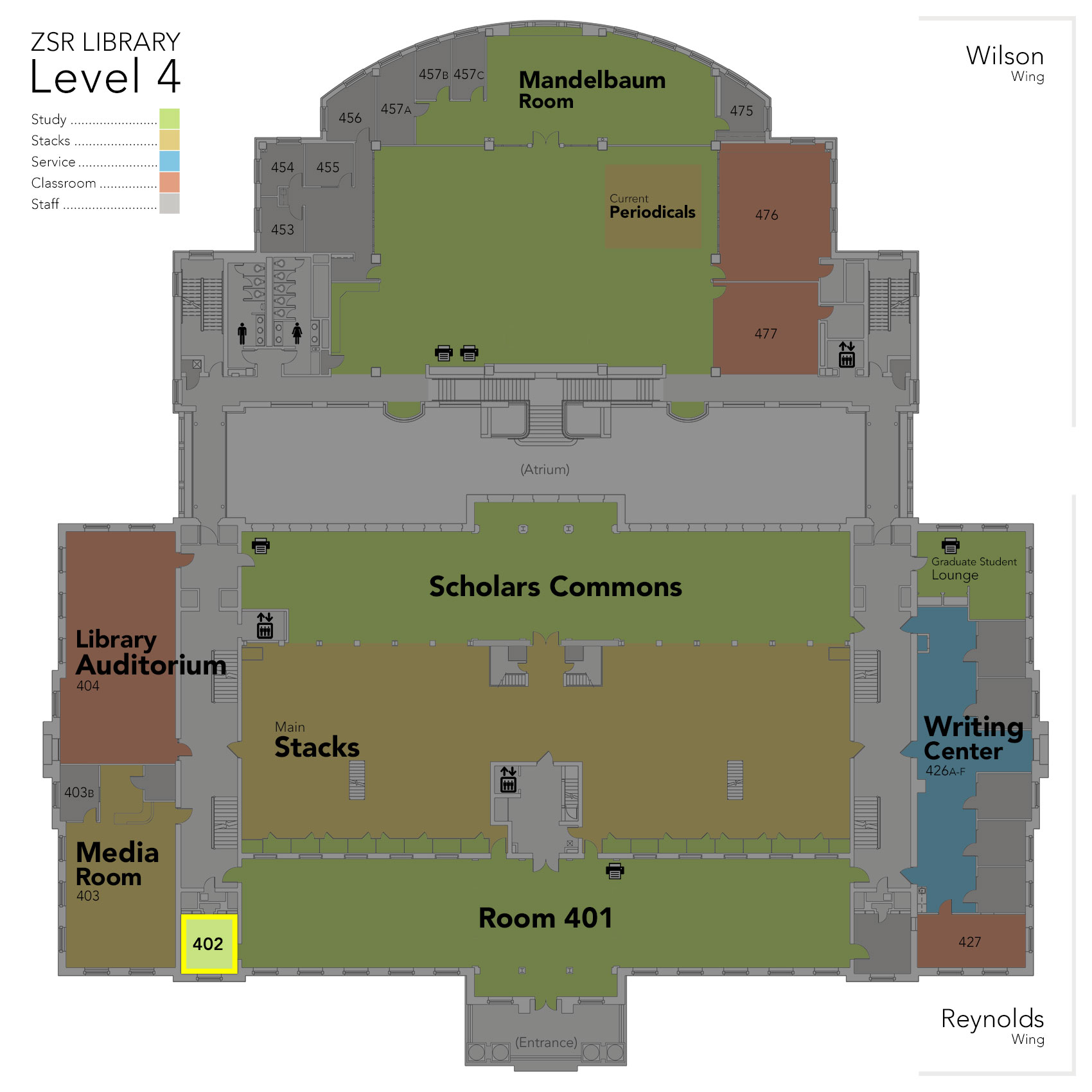 Level 4 Study Room 402 map