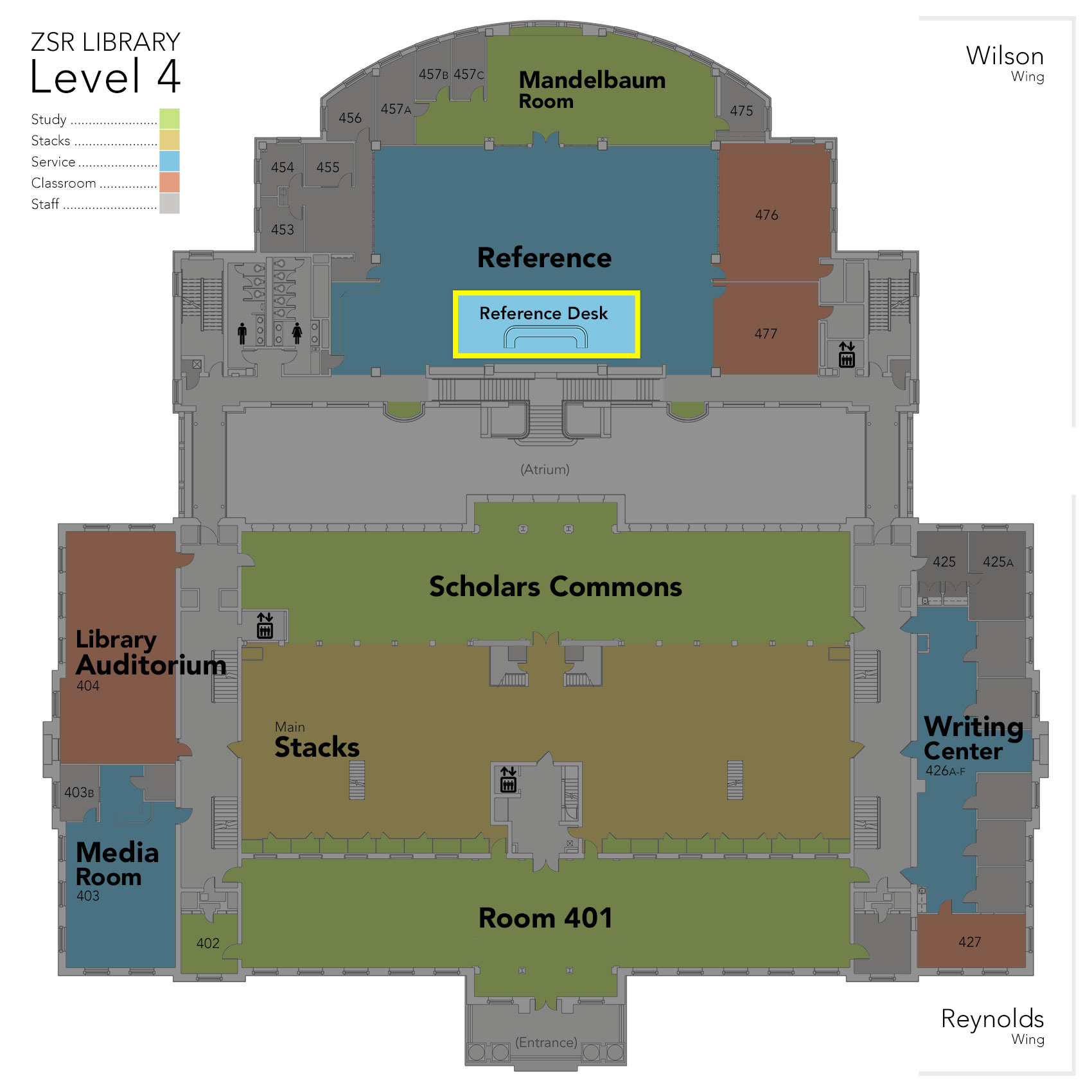 Level 4 Reference Desk map